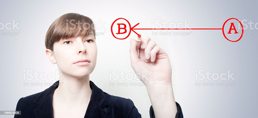 Woman connecting red A to red B over a light gray wall royalty-free stock photo
