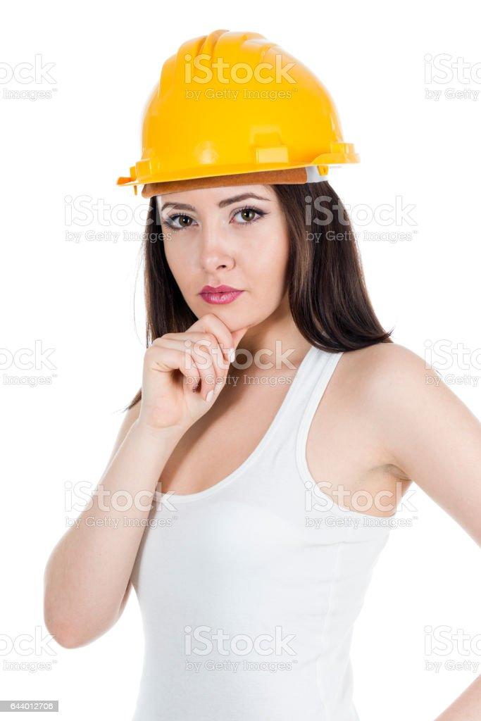 Woman Construction Contractor Carpenter stock photo