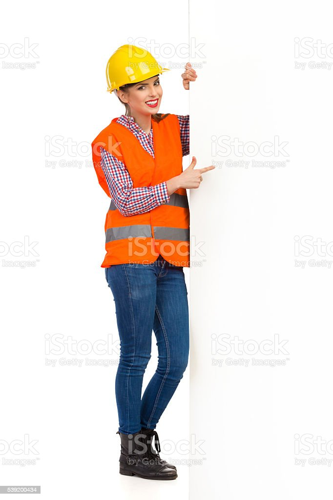 Woman Construction Worker Notice stock photo