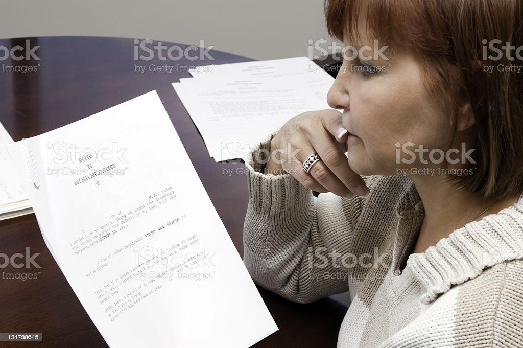 woman contemplating will royalty-free stock photo