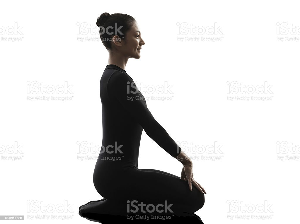 woman contortionist exercising gymnastic yoga silhouette royalty-free stock photo