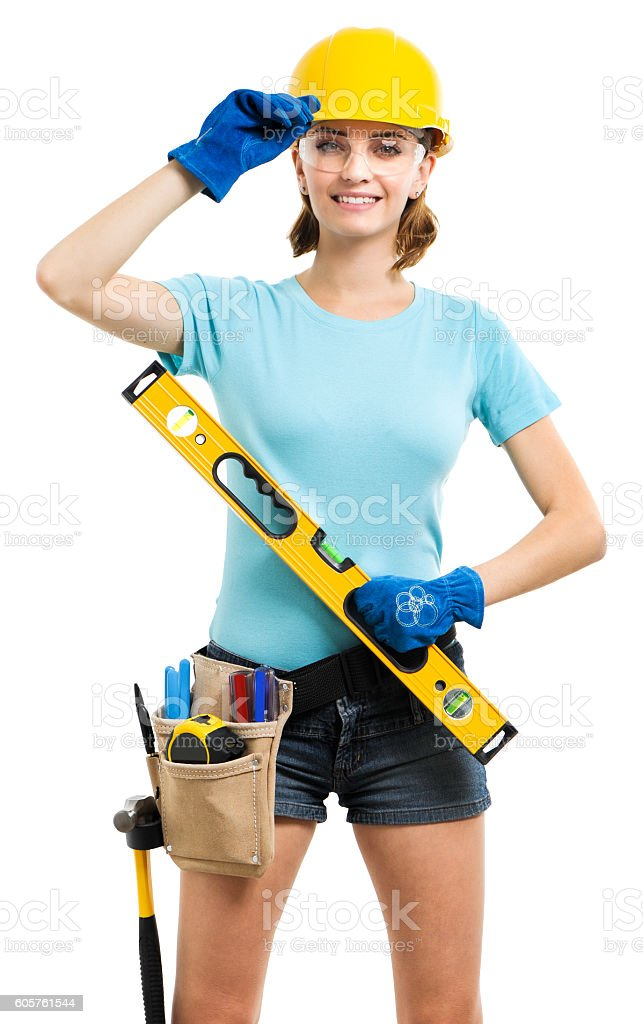 Woman contractor carpenter construction worker on white stock photo