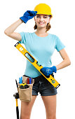 Woman contractor carpenter construction worker on white
