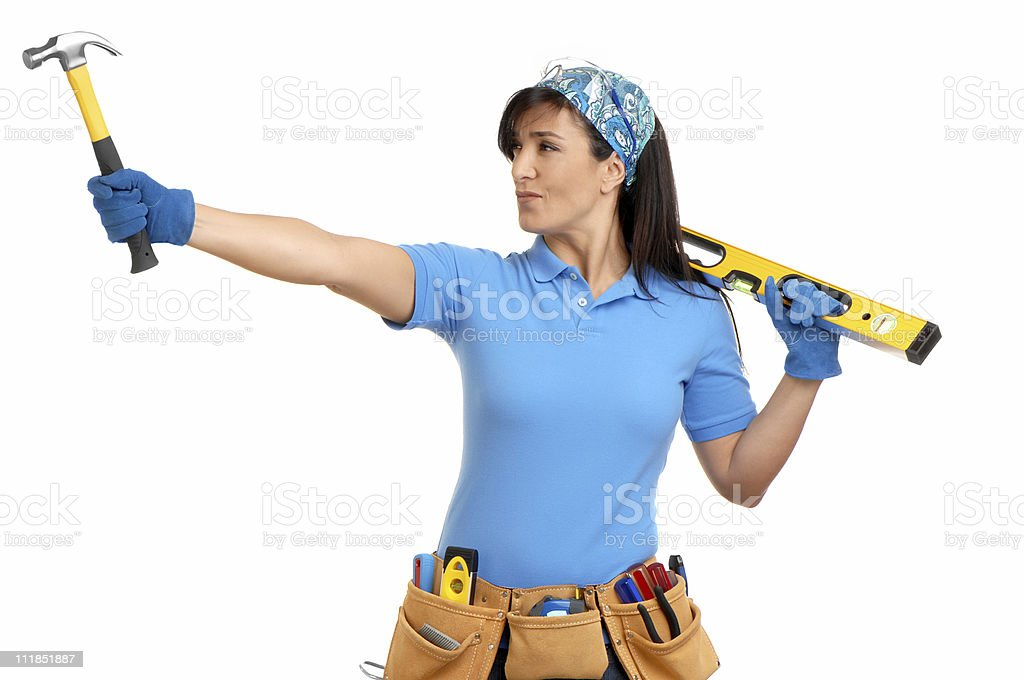 Woman Contractor Carpenter with Hammer Toolbelt Level on White royalty-free stock photo