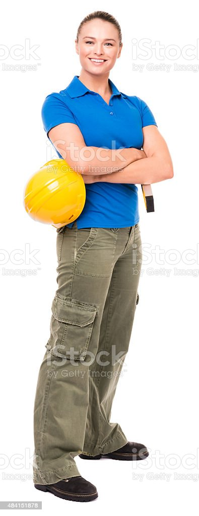 Woman Contractor Construction Worker on White stock photo