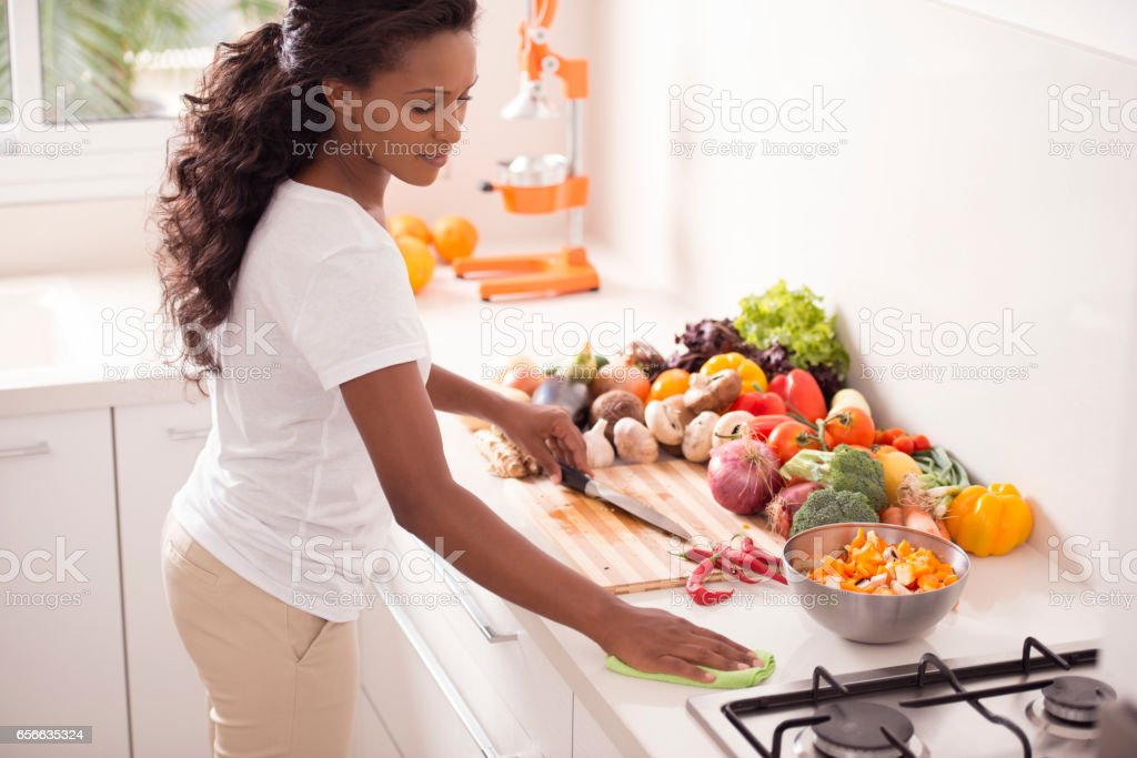 Woman Cooking Breakfast. stock photo