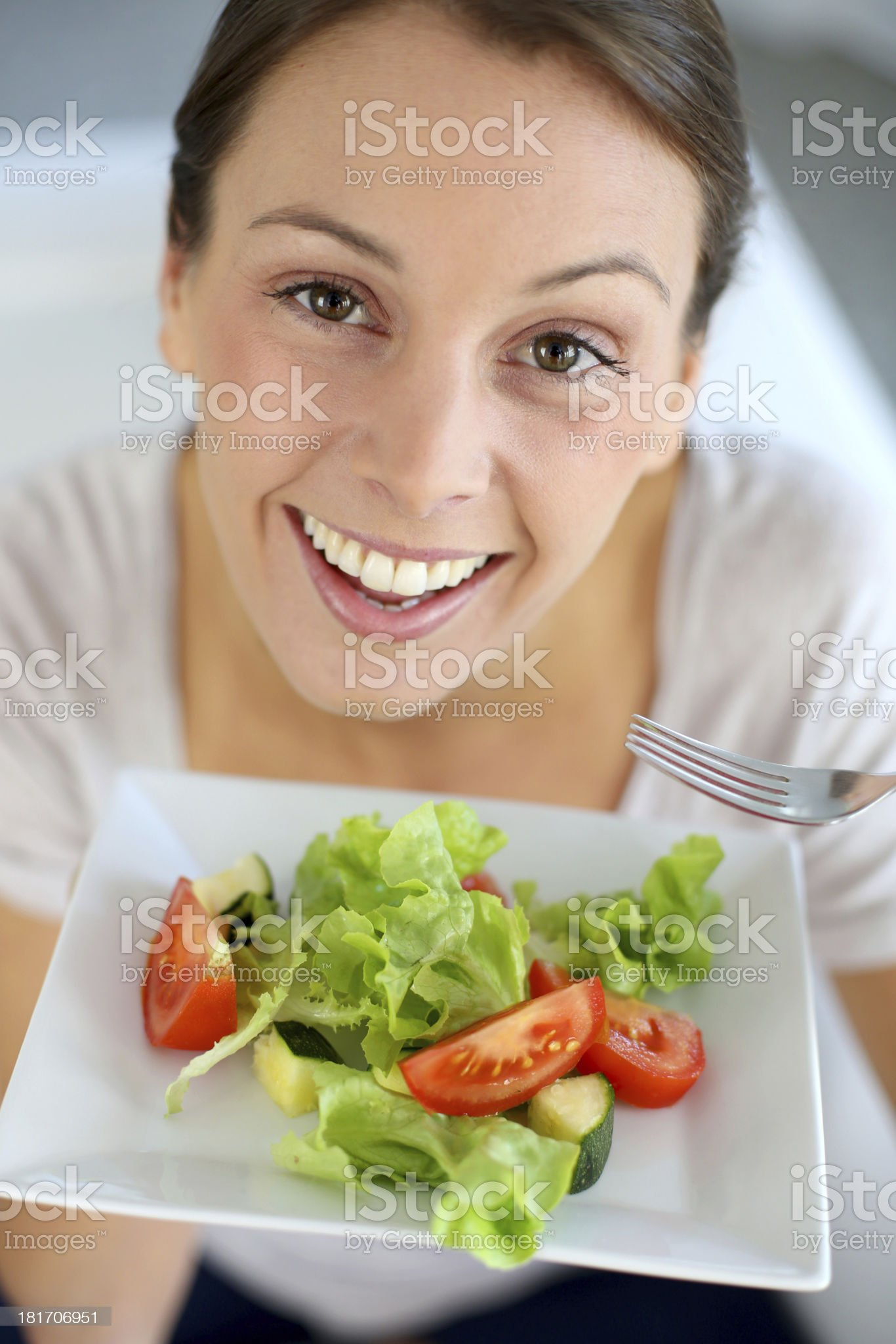Woman cooking salad royalty-free stock photo