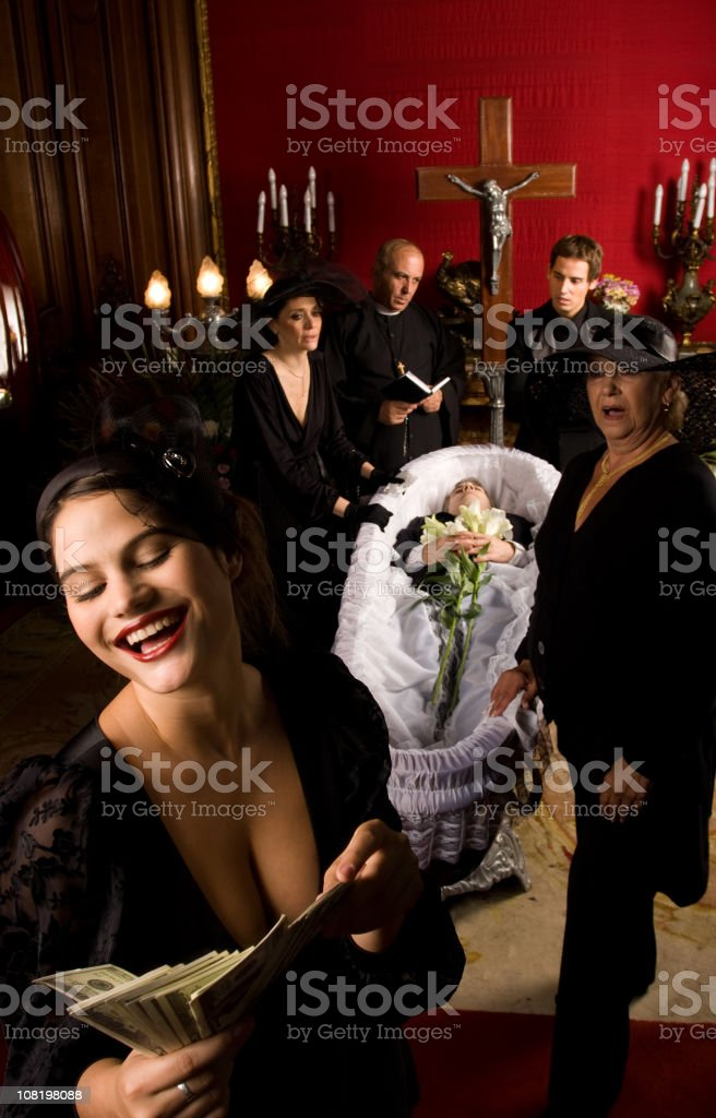 Woman Counting Cash at Funeral Scene, Comical stock photo