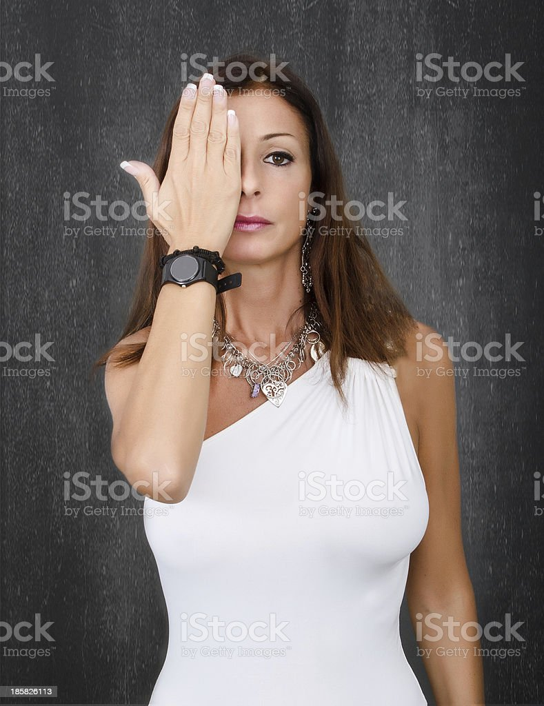 woman cover eye with hand royalty-free stock photo
