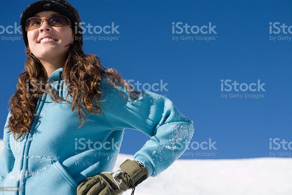 Woman covered in snow royalty-free stock photo