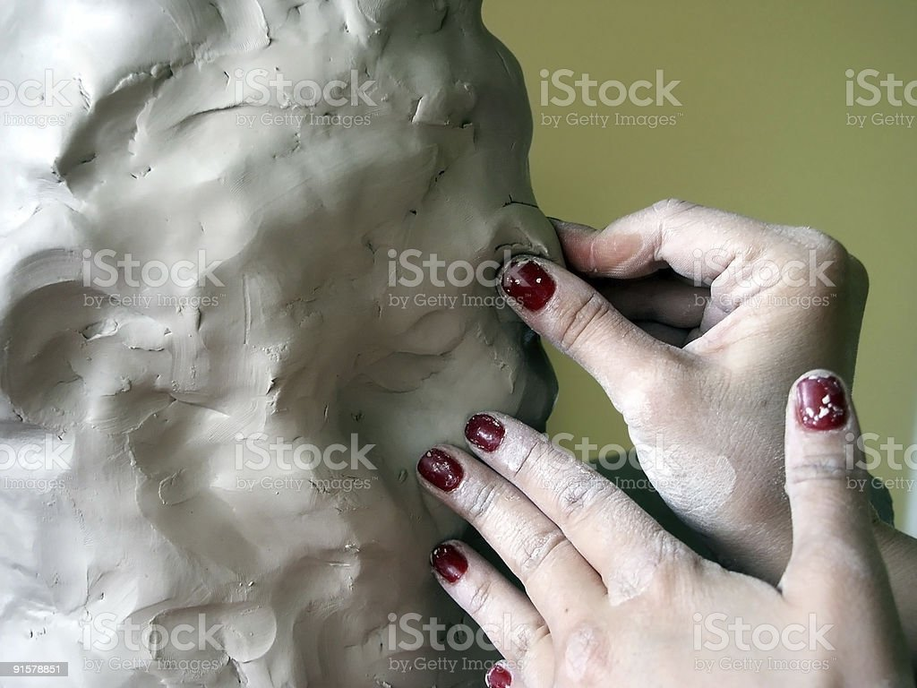 woman crafting clay stock photo