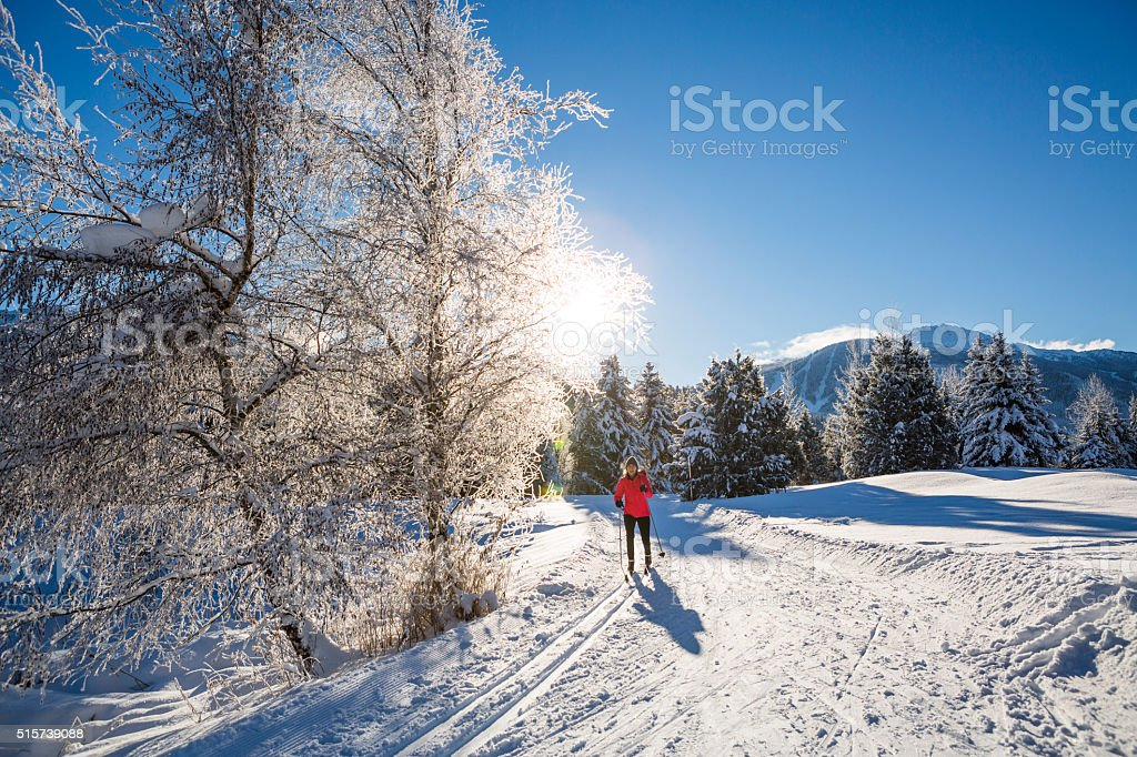 Woman cross country skiing on sunny day. stock photo