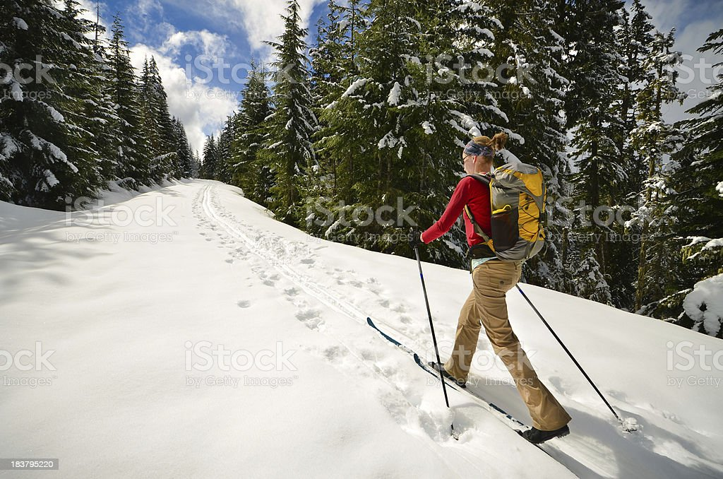 Woman cross-country skiing stock photo