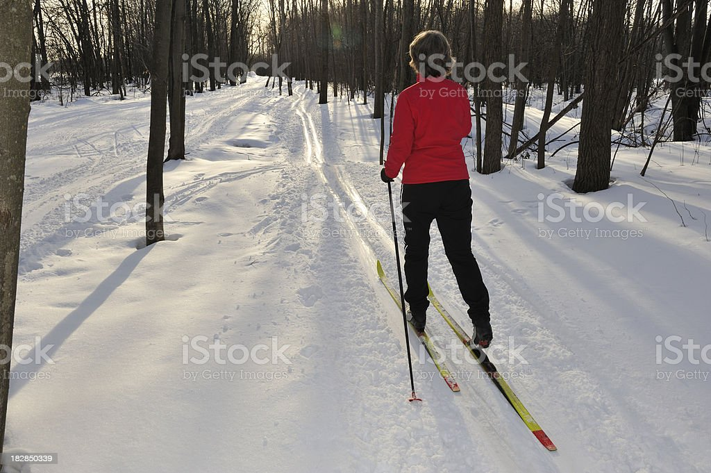 Woman cross-country skiing, snow, winter sport. royalty-free stock photo