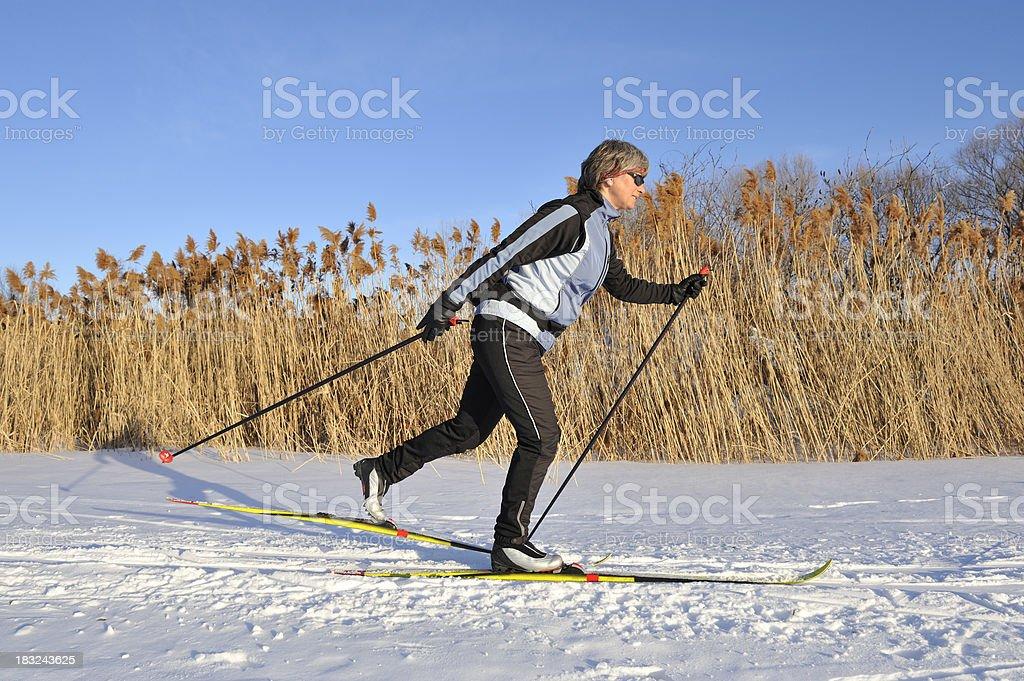 Woman, cross-country skiing, winter sport stock photo