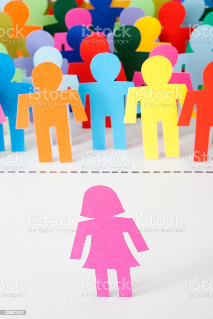 Woman crossing boundary stock photo