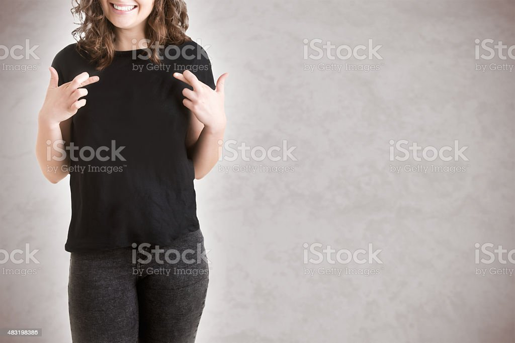 Woman Crossing Her Fingers stock photo