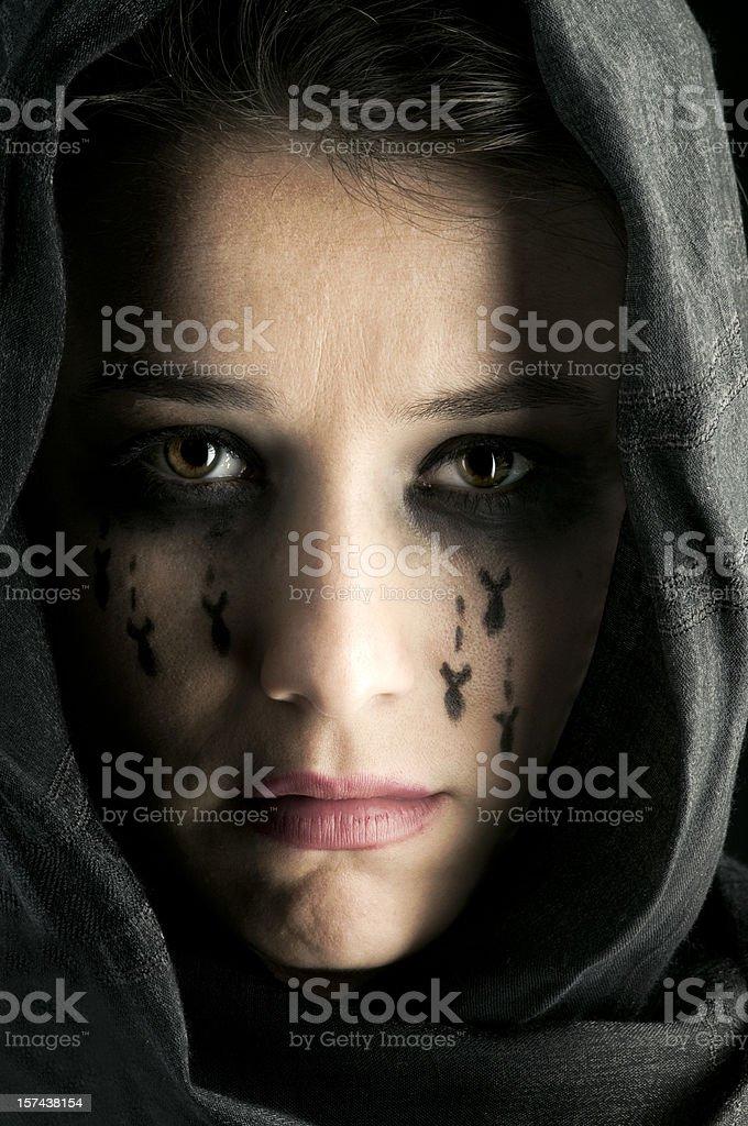 Woman Crying Bombs stock photo