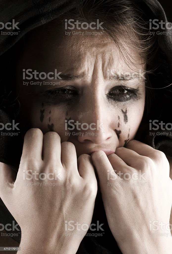 Woman crying bombs royalty-free stock photo