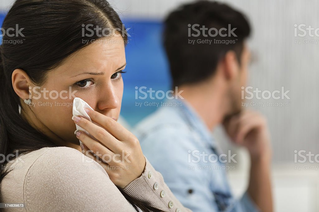 Woman crying, relaionship difficulties royalty-free stock photo