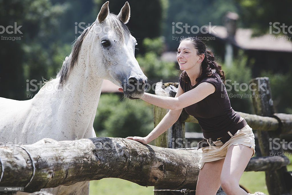 Woman cuddling a white Horse royalty-free stock photo