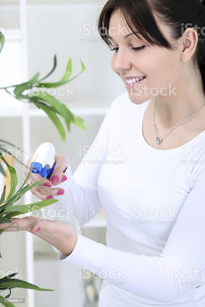 woman cultivating flowers royalty-free stock photo