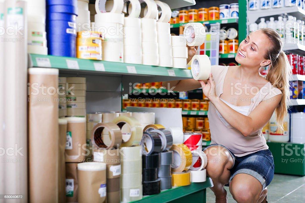 woman customer in housewares hypermarket stock photo