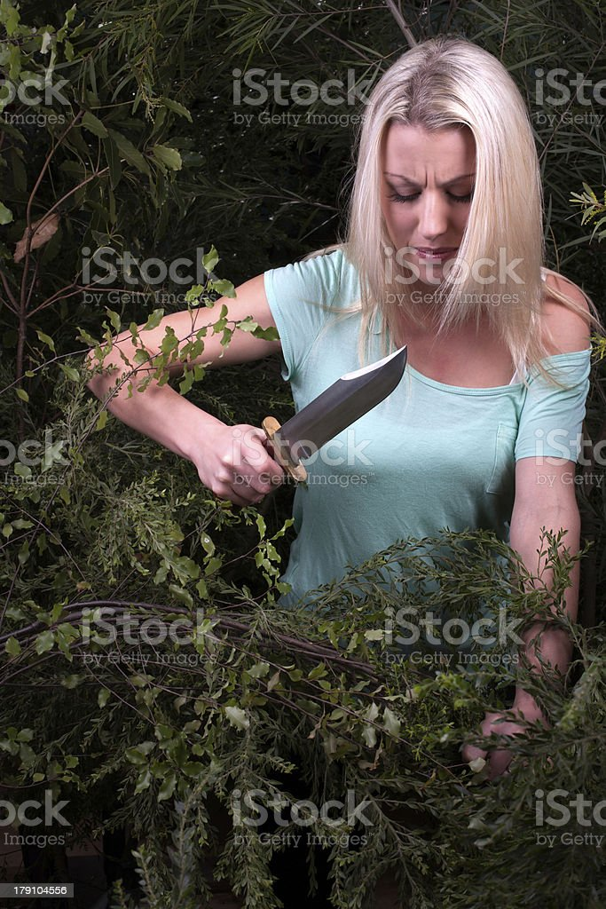 Woman cuts though dense bushes with knife royalty-free stock photo