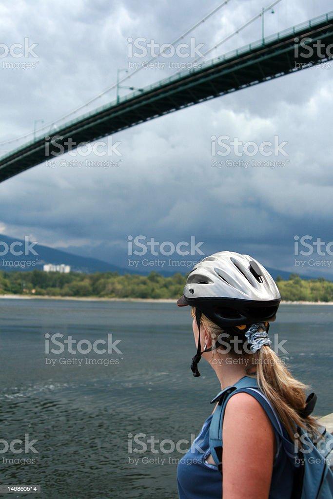 Woman cyclist royalty-free stock photo