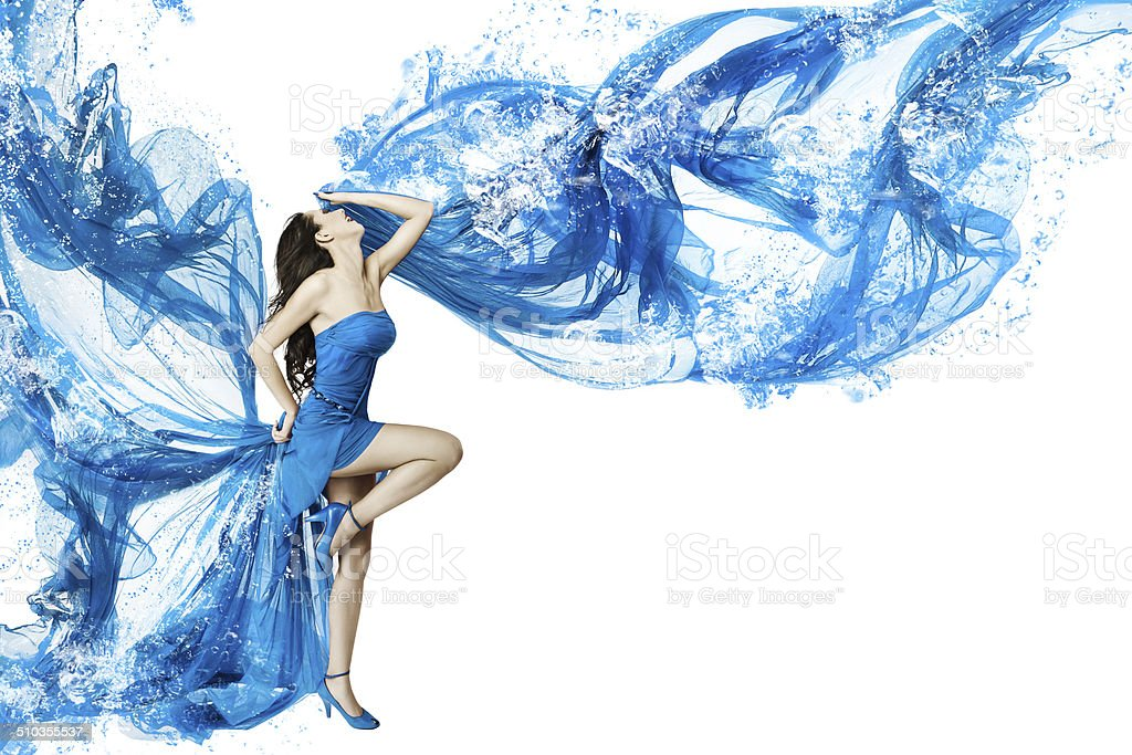 Woman dance in blue dress, white background stock photo