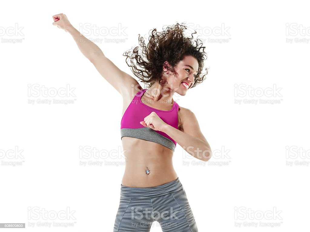 woman  dancer dancing fitness exercises stock photo