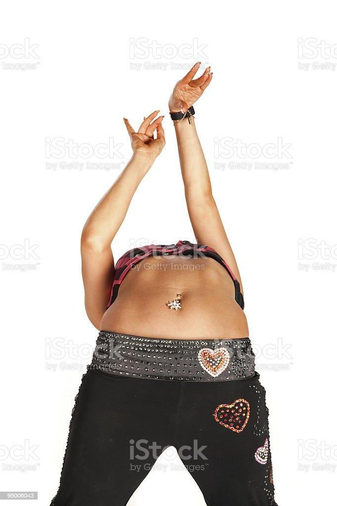 Woman dancing and doing back-flip stock photo
