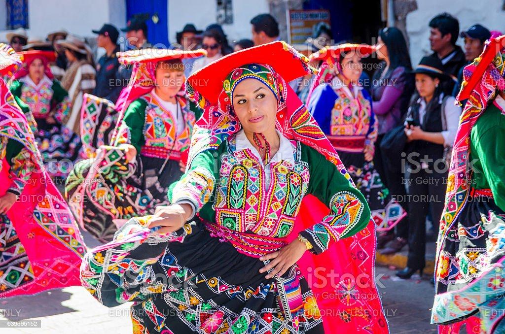 Woman dancing at the Inti Raymi festival stock photo