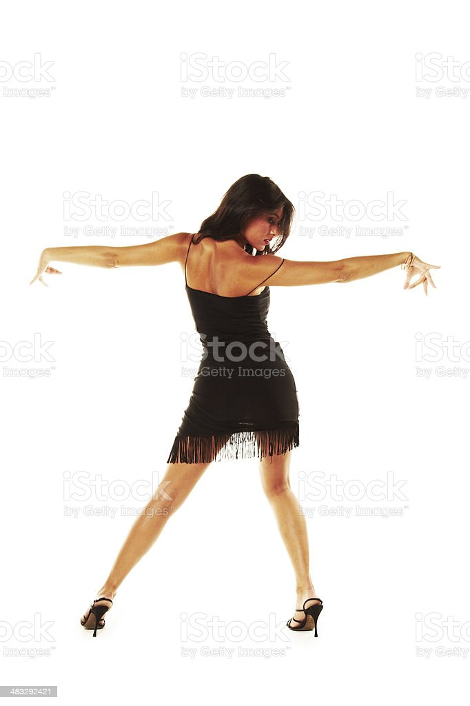 woman dancing flamenco on a white background. stock photo