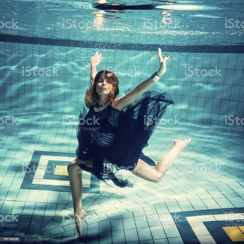 Woman Dancing In Water royalty-free stock photo