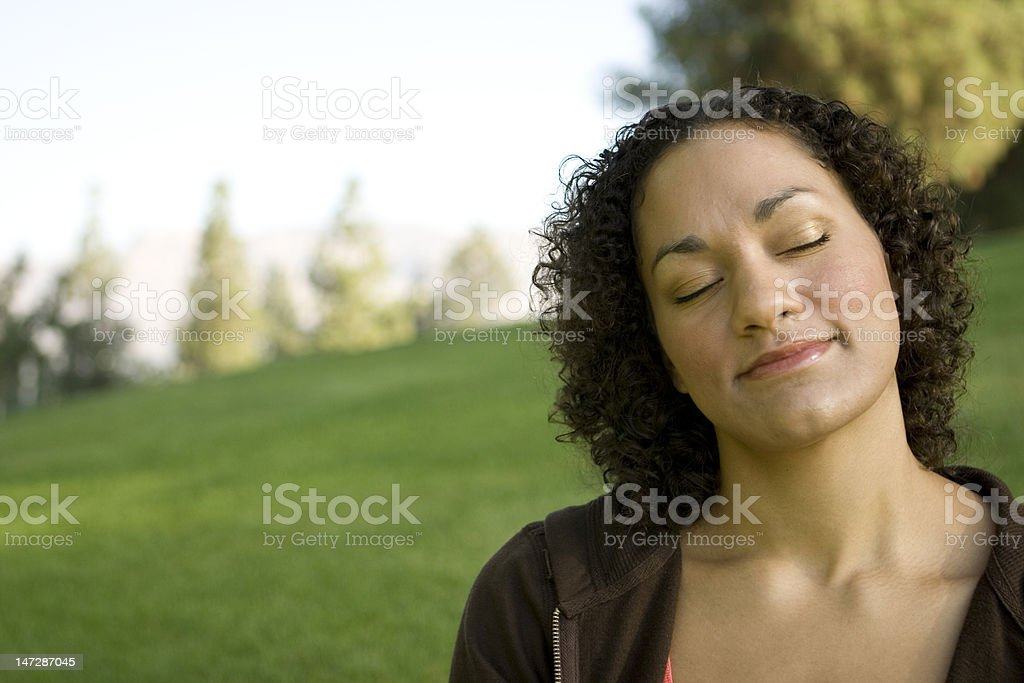 Woman Day dreaming stock photo