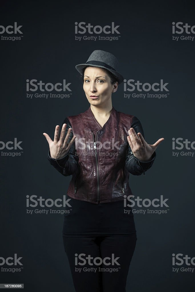 woman defending her rights stock photo