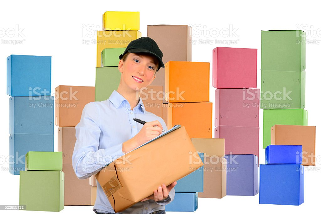 Woman delivering stock photo