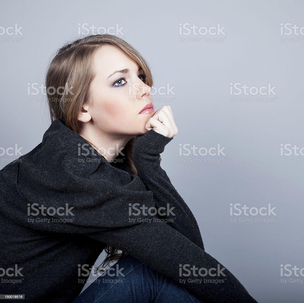 Woman Depressed royalty-free stock photo