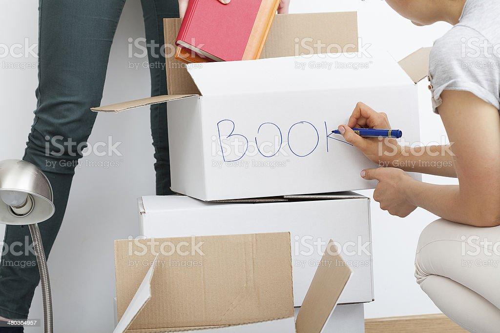 Woman descripting boxes stock photo