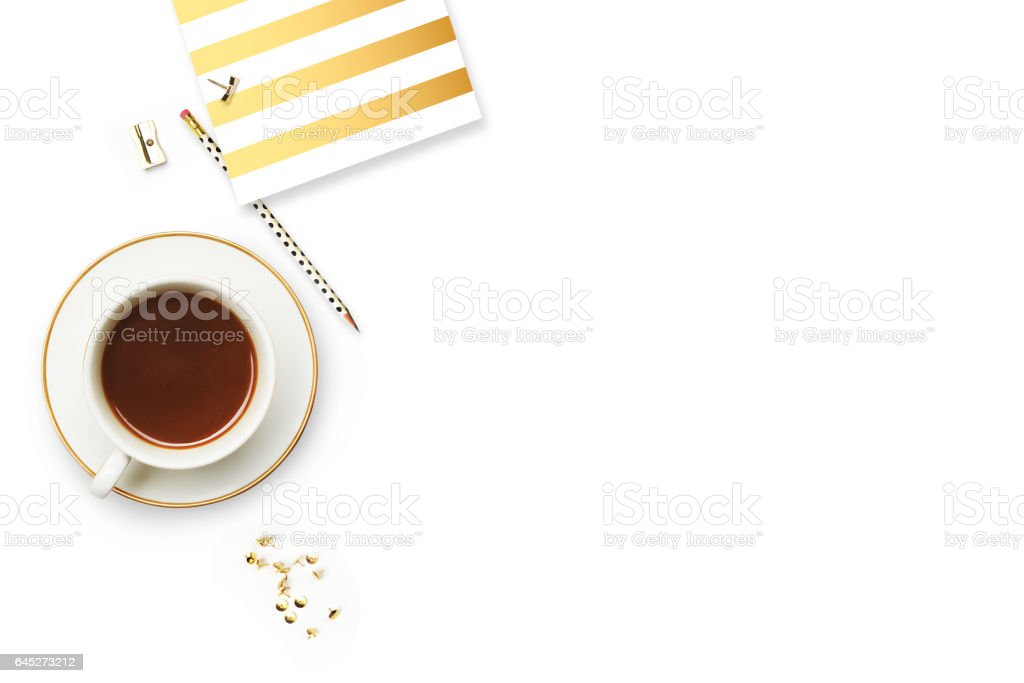 Woman desktop elegant. Coffee cup and items on the table. Mock-up for artwork .View from above. Flat lay. stock photo