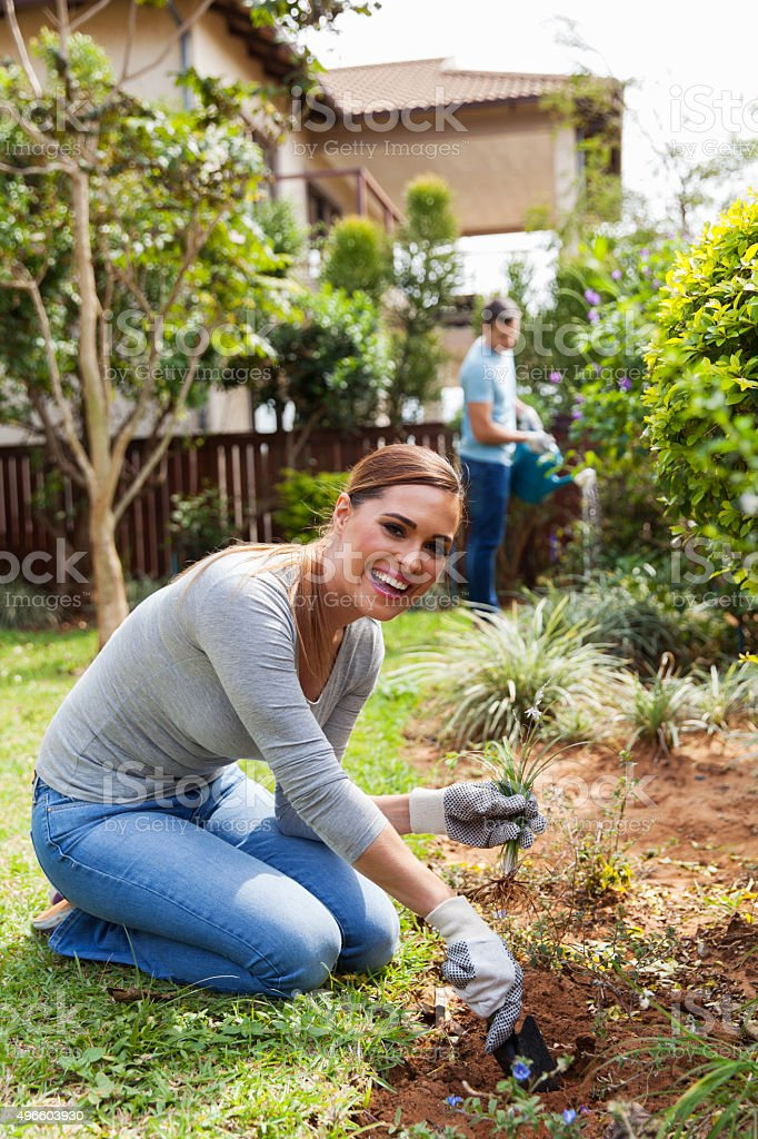 woman digging a hole before planting stock photo