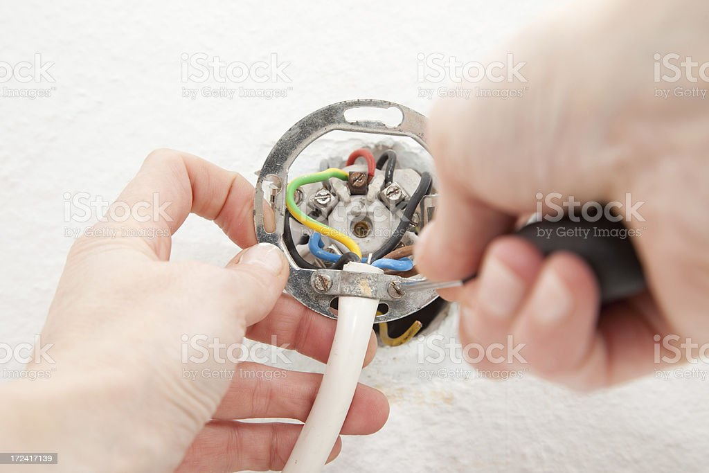 Woman disconnecting cables from an oven royalty-free stock photo