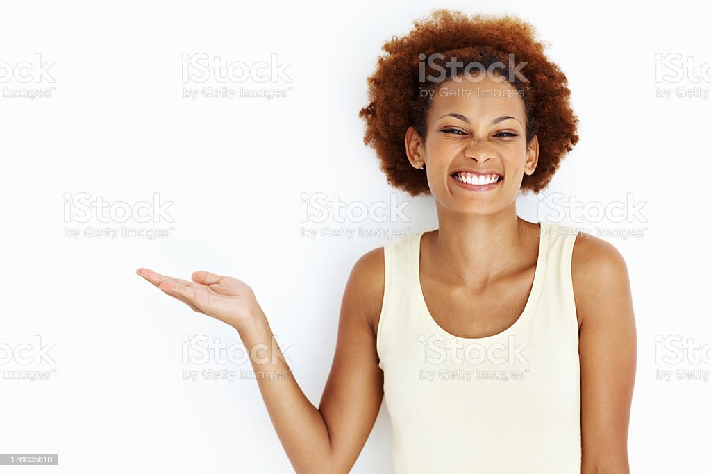 Woman displaying product stock photo