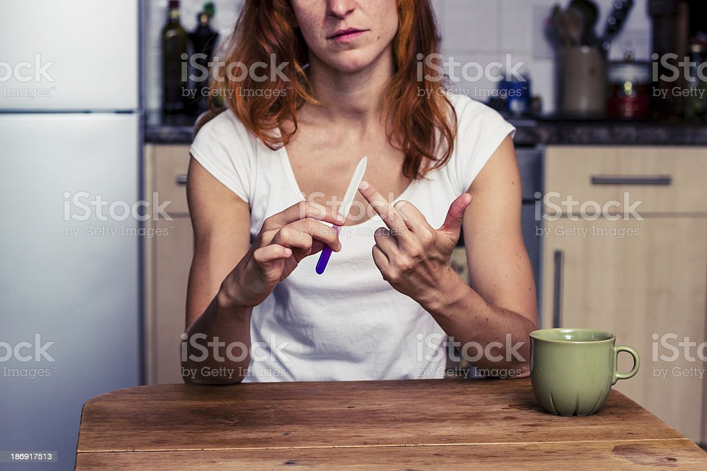 Woman displays obscene gesture royalty-free stock photo