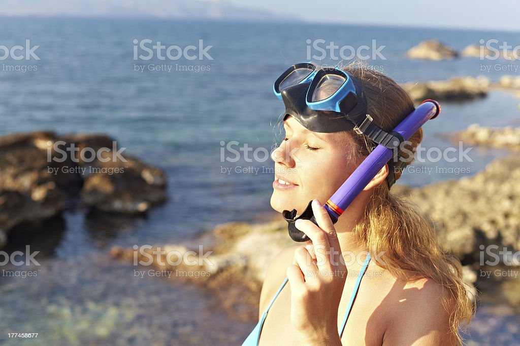 Woman diver royalty-free stock photo