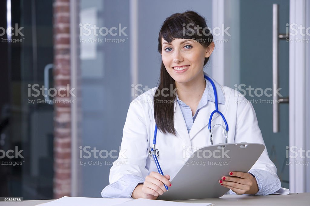 Woman Doctor chart royalty-free stock photo
