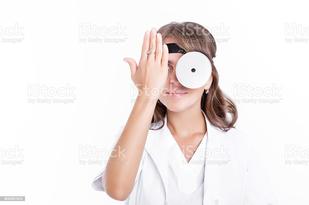 woman doctor ENT stock photo