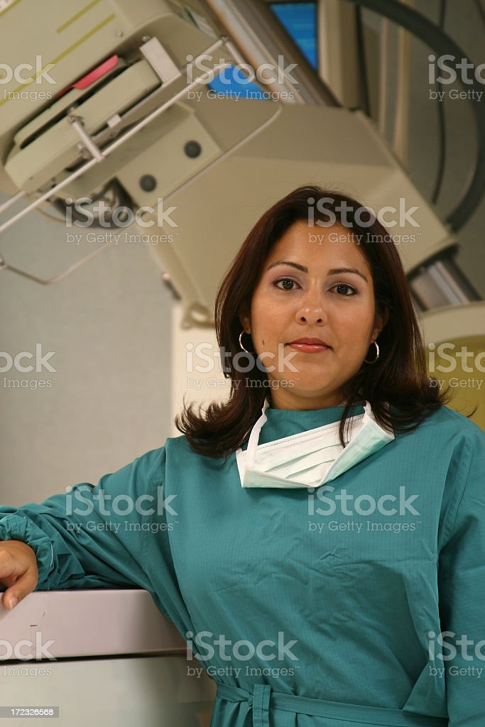Woman Doctor in Front of Simulator royalty-free stock photo