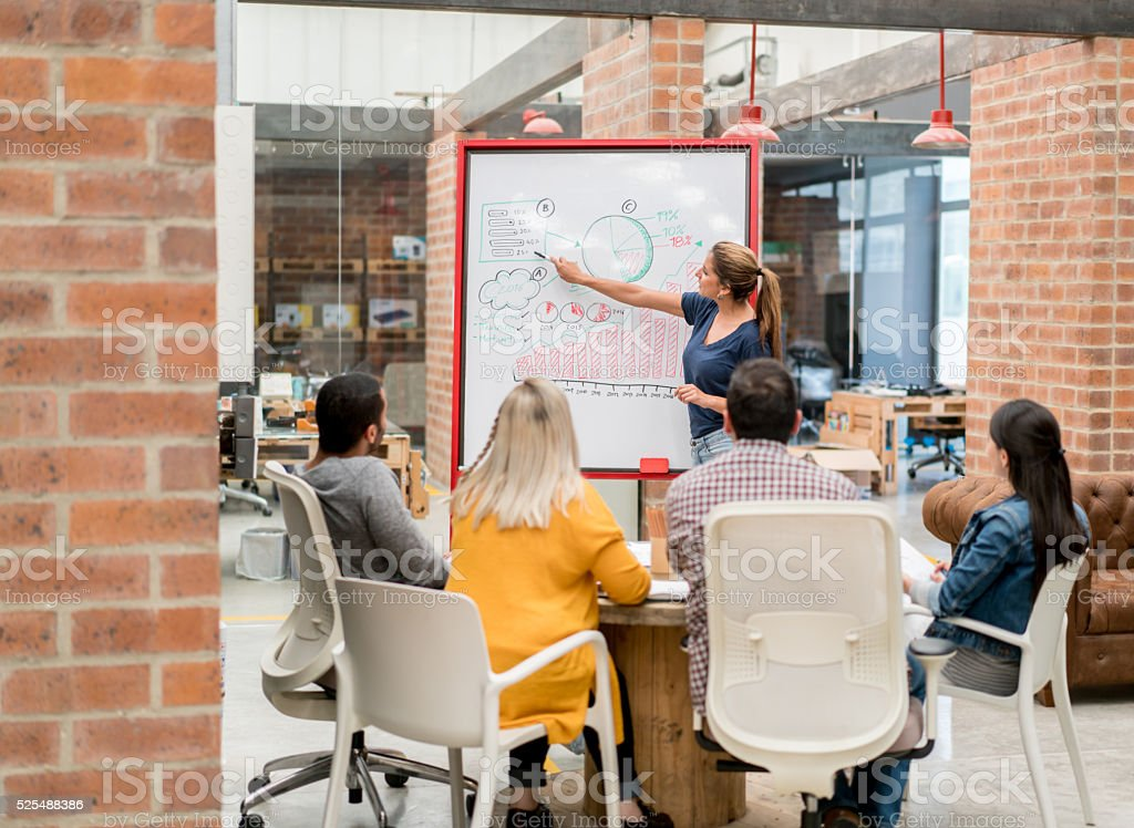 Woman doing a business presentation at the office stock photo